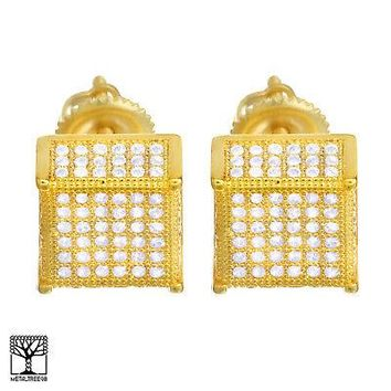 Jewelry Kay style Men's Iced Out Brass 14k Gold Plated CZ 3D Block Screw Back Earrings BE 037 G