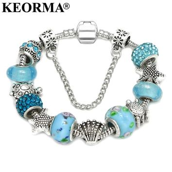 KEORMA Summer Style Sea Turtle Star Shell Charm Bracelets & Bangles Blue Murano Glass Beads Bracelet for Women DIY Jewelry KM363
