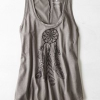 AEO Women's Graphic Muscle Tank (Grey)