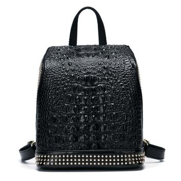 Crocodile Pattern  Nappa Leather  Backpack