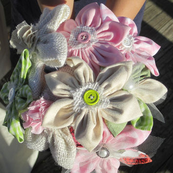 Adorable fabric flower alternative bouquet  daisies in linen, lace, burlap and cotton for casual decor rustic wedding or modern wedding