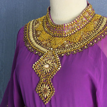 Fancy Sequin Caftan Dress Plus Size Caftan Maxi Dresses, Gold Sequin Kaftans, Purple Moroccan Dubai Abaya Caftan Maxi Dress