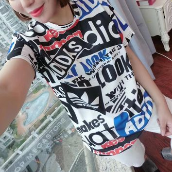 """""""Adidas"""" Personality Multicolor Letter Pattern Print Women Casual Short Sleeve T-shirt Top Tee"""