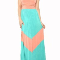 Women's Chevron Maxi Dress Mint Peach, Large
