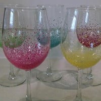 Hand painted set of 4 wine glasses