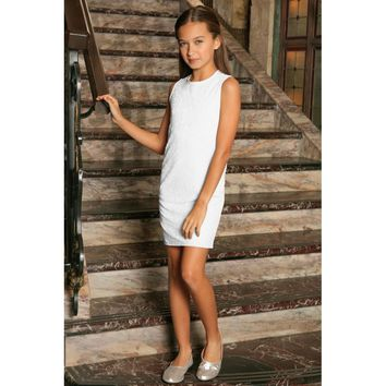 White Stretchy Lace Sleeveless Summer Fancy Party Shift Dress - Girls