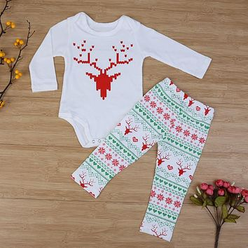 Baby X-mas Clothes Baby Boys Girls Christmas Elk Deer Snowflake Love Print Bodysuit + Pants Outfit Infants Clothing Set