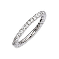 925 Sterling Silver White Synthetic Cubic Zirconia Round Cut Faceted Prong Ring