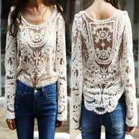 Semi Women Sheer Sleeve Embroidery Floral Lace Crochet Tee T-Shirt Top Blouse