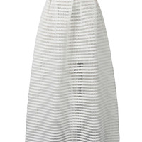 White Mesh Stripe Maxi Skirt
