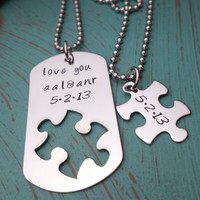 Love You Necklace Set, Puzzle Piece, Dog Tag Necklace, Puzzle Jewelry, Forever and Ever, Matching