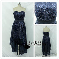 Navy Strapless Chiffon Waist Sequined High Low Short Front Long Back Prom Dress