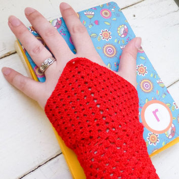 Crochet fingerless gloves, Crochet wrist warmers, red fingerless gloves, ready to ship, winter wear, women's gift idea, accessory