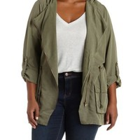 Plus Size Olive Zip-Up Moto Anorak Jacket by Charlotte Russe