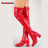 Jialuowei Wome sexy fashion Spring/autumn over-the-knee high Boots ladies elegant Square heels high-heeled thigh long shoes