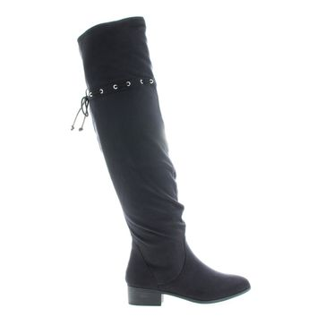 Oneway Black By City Classified, OTK Over Knee Slouchy Western Inspired Boots w Interlacing Closure