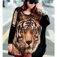 *Free Shipping* Coffee Cotton Women Tiger Top One Size FZ60104co from efoxcity