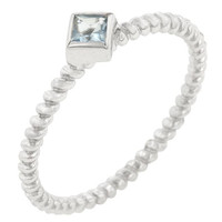 Twisted Petite Blue Topaz Solitaire Ring, size : 07