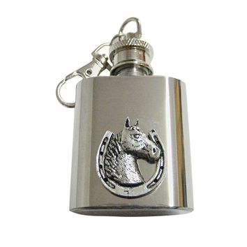 Horse and Horse Shoe 1 Oz. Stainless Steel Key Chain Flask