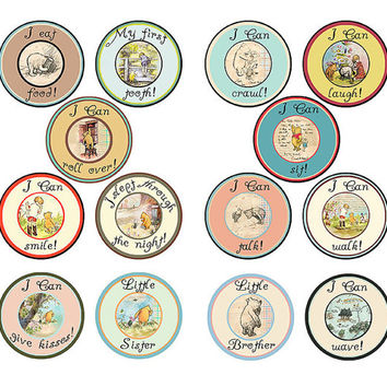 14 Classic Pooh Accomplishment Vintage Traditional Unisex Neutral Baby Milestone Onesuit Stickers Newborn Shower Gift