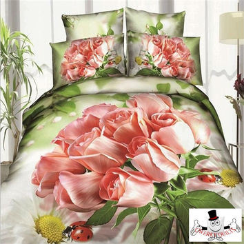3D Pink Rose Bunch Romantic Bedding Set and Quilt Cover