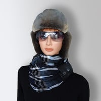 Infinity Scarf Blue Black White Men Women Unisex very Soft Acrylic Cozy Scarf  with Natural Leather Cuff by Elena Joliefleur