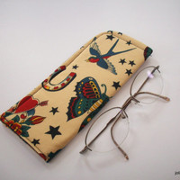 For the Love of Tatoo Art Tan Protective Padded Pouch Eyeglass Case