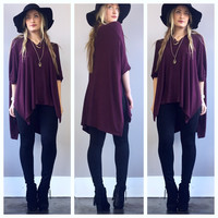 A Flowy Poncho in Wine