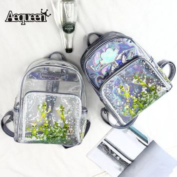 AEQUEEN Transparent PVC Backpack Hologram Laser Schoolbag Student College Bookbag For Teen Cute Skull Mochila Girls Clear Pack