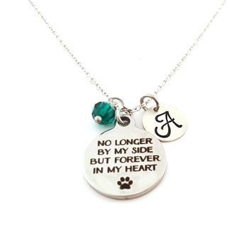 Pet Memorial Charm Personalized Initial Sterling Silver Necklace
