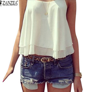 ZANZEA 2017 Summer New Women Strap Tank Tops Sleeveless White Chiffon Casual T-shirt Vest Crop Tops Camis S M L XL 2XL 3XL 4XL