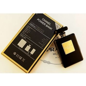 Black CC Perfume Bottle Power Bank External Battery Pack Iphone Samsung Galaxy Charger