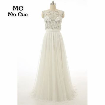 Elegant Illusion Prom dresses Long with Crystals Beaded Cap Sleeves dress for graduation Tulle Formal Evening Prom Dress