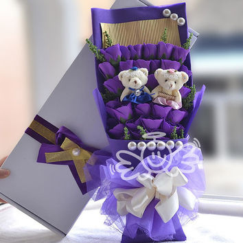 Decorative Flowers & Wreaths,Rose bouquet,33 Roses ,package: Gift Box Purple Holding flowers,Valentine's Day  Birthday gift FW43