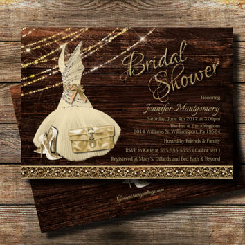 Country Bridal Shower Invitation / Rustic theme / Rustic Glam Bridal shower /Wedding Shower Invite, High Heel invite / Bridesmaid dress