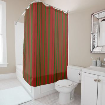 Red and Green Stripe Shower Curtain