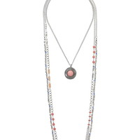 Layered Mixed Bead And Medallion Necklace - Coral