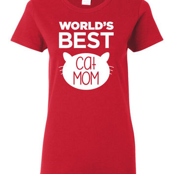 World's Best Cat Mom screen printed t shirt ladies or unisex Cat Lover Mom Gift Pet Owner