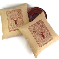 Designer Pillow, Block Print Pillow, Gold Pillow, Beige Pillow, Tree of Life, 18X18 Pillow, Accent Pillow, Custom Pillow, Luxury Pillow