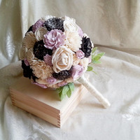 MEDIUM Ivory lilac dark grey rustic wedding BOUQUET sola Flowers, olive leafs, spring summer wedding, pastel bouquet, custom