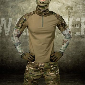 Outdoor Hunting Man Camouflage T-shirts Army Camouflage Combat Tactical T Shirt Military Men Long Sleeve T-Shirt