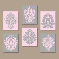 DAMASK Wall Art, Canvas or Prints PINK GRAY Bedroom Pictures, Bathroom Artwork, Swirl Scroll Design, Kitchen Decor Set of 6 Home Decor