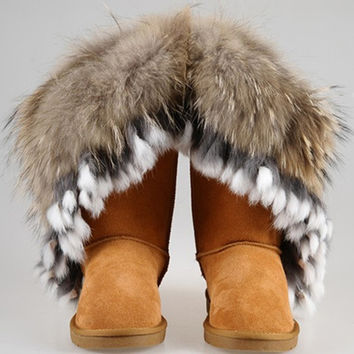 Boots fox fur boots rabbit fur tassel waterproof genuine leather SCE007