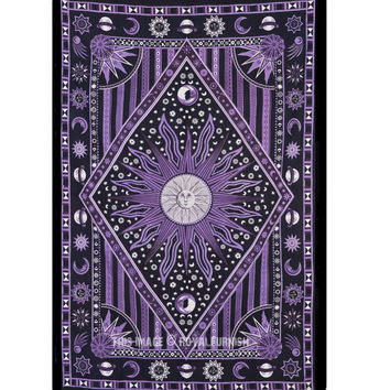 Purple Twin Size Celestial Psychedelic Sleeping Sun Tapestry Wall Hanging Bedspread on RoyalFurnish.com
