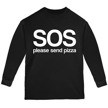 SOS Please Send Pizza Youth Long Sleeve T Shirt