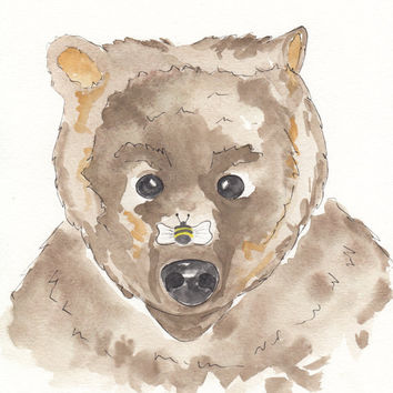 Bear Woodland Art, Bee Art, Nursery Art, 8 x 10 Print, Baby Shower