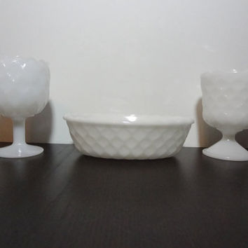 Vintage Milk Glass Goblets/Vases and Oval Bowl with Honeycomb Pattern & Scalloped Rim - Set of 3 - Wedding Decor, Table Centerpiece