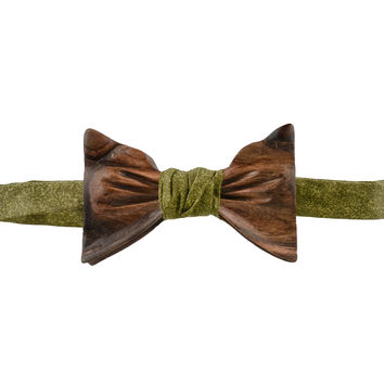 The Henry Shedua Wooden Bowtie | Army Green