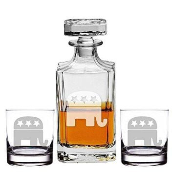 Republican Logo Engraved Decanter and Rocks Glasses, Set of 3