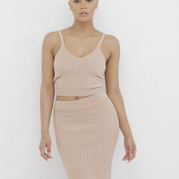 THE ESCAPADES RIBBED KNIT SKIRT SET
